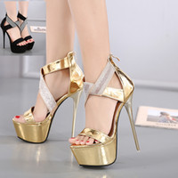 Wholesale Sexy Black Shoes Sandals - 17cm Sexy Gold Black Rhinestone Super High Heels Platform Sandals Wedding Shoes 2017 Size 34 To 40