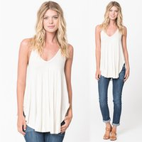 Wholesale v neck camisoles - Wholesale- 2016 Women Camis Tops Sleeveless Spaghetti Strap Casual Vest Top Summer Style V Neck Sexy High Street Loose Camisole