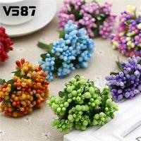 Fleur Artificielle Multicolore En Gros Pas Cher-Vente en gros- 72pcs / Lot Multicolor Scrapbooking Bouquet de fleurs Artificial Flower Buds Stamen Wedding Box Décoration Berry Stamen