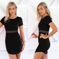 Wholesale Cotton Gauze Summer Clothes Women - Sexy Dress Spot Black Mesh Stitching Women Clothing Short Sleeved Black Gauze Stitching Sexy Panelled Dress