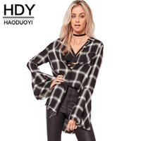 HDY Haoduoyi Fashion Plaid Shirts Women Flare Sleeve Женские ярусовые топы Preppy Style Loose High Low Ladies Blouses Shirts q1109