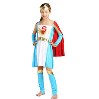 Wholesale Girls Super Fancy Dress - Kids Super Girl Princess Eypt Theme Costume Elegant King Queen Pharaoh Cosplay Clothing Set Halloween Carnival Costumes Fancy Dress