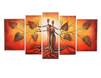 abstrakte gemälde gesichter großhandel-Unframed 5pcs 100% Handgemalte Ölgemälde Landschaft Menschliches Gesicht Kuss Bäume Paar Abstrakte Kunstwerk Home Decoration