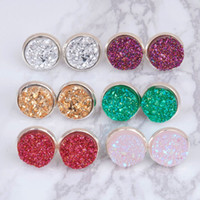 Wholesale DoreenBeads Handmade Druzy Drusy Resin Dome Seals Cabochon Round Earrings Fashion Trendy Woman Jewelry x14mm Pair