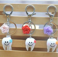 Wholesale Tooth Lover Couple Key Chain - DHL Cute Smile Face Keychain Handbag Cartoon Tooth Couple Key Ring Dental Gift Car Emoji Key Chains Pendant Key Gift for Children Gifts