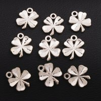 Wholesale Spacer Beads Antique Silver - Clover Lucky Lead Spacer Charm Beads 200pcs lot Antique Silver Pendants Alloy Handmade Jewelry DIY L313