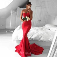 Wholesale Jacket Pleated Train - Red Color Long Evening Dresses 2017 Robe de Soiree Sexy Sweetheart Floor Length Mermaid Evening Dress Formal Prom Gowns