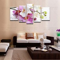 Wholesale modern canvas art flower painting - 5 piece canvas art HD Canvas Prints wall art canvas paintings home decor wall picture pink flowers modern abstract Painting