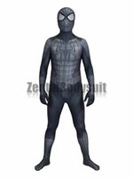 Wholesale Cosplay Armour - Black Armour Spider-Man Costume 3D Cosplay Spiderman Armour Zentai Suit Halloween Party Costumes