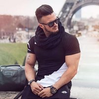 Wholesale Muscle Fit T Shirts - Wholesale- Men summer style Fashion T-shirts Fitness and bodybuilding Slim fit T Shirt Leisure muscle Male Short sleeves clothing Tee Tops