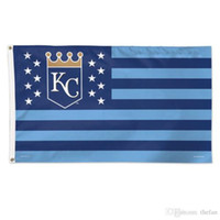 Wholesale City Decorations - Kansas City Royals Flag Baseball Team Flag Win Champion Flags Blue Polyester Banner Kids Birthday Party Decoration 3x5 Feet