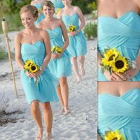 Wholesale Turquoise Brides Maids Dresses - Beach Bridesmaid Dresses 2017 Knee Length Turquoise Chiffon Sweetheart Empire Cheap Summer Maid Of honor Gowns For Ladies Brides Maid