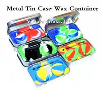Wholesale Wholesale Metal Tin Containers - New Arrival 4 in 1 Metal Tin Silicone Storage Kit Set with 2pcs 5ml Silicon Wax Container Oil Jar Base Silver Dab Dabber Tool Metal Case