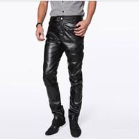Wholesale Mens Leather Trouser - Wholesale- High quality men leather pants harajuku hip hop fashion mens motorcycle PU trousers zipper pantalones hombre plus size m-4xl