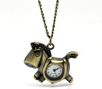 "Wholesale Horse Watches Digital - Wholesale-2016 NEW Bronze Tone Necklace Quartz Horse Pocket Watch 87cm(33-1 8"") HOT sale New Arrival"