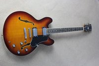 Wholesale hollow body electric guitar 335 - Free shipping Custom Shop Semi-Hollow Classic Jazz Guitar 335 Sunset Chrome hardware Electric Guitar