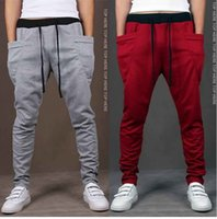 Wholesale Slim Fit Trousers For Men - Cheap Mens Joggers New 2017 Fashion Harem Pants Trousers Drawstring Hip Hop Big Pocket Slim Fit Sweatpants Men For Jogging M- XXL Trousers