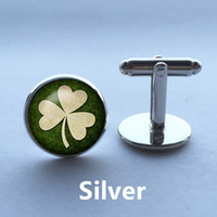 Wholesale Vintage Irish - Irish Luck Mans Groom Wedding Cuff Links Four Leaf Clover Vintage Sleeve Button Shirt Cufflinks Brand Silver Glass Dome Gift