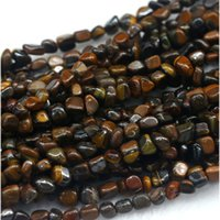 "Wholesale Silver Nugget Beads - Wholesale Natural Genuine Yellow Iron Tiger's Eye Stone Nugget Free Form Beads Fit Jewelry 15"" 03894"