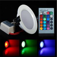 controle de brilho da luz venda por atacado-Economia de energia 5W / 10W LED de teto luz de alto brilho RGB Down Light 24 cores com controle remoto LED lâmpadas de luz