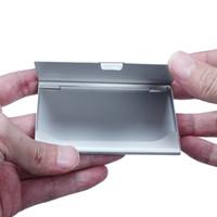 porta tarjetas de bolsillo de aluminio al por mayor-Hot Silver Pocket Business Name Credit ID Titular de la tarjeta de Metal Caja de aluminio Caso de la cubierta al por mayor envío gratuito