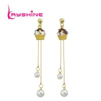Gold-Color Long Chain Avec Double Simulated-pearl Blue Yellow Green Pink Color Gâteau Forme Drop Earrings For Women