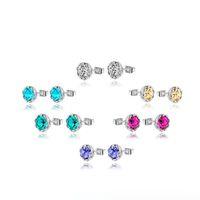 Wholesale Earings Color Diamond - Austrian Crystal Stud Earrings fashion small Snow lotus flower diamond multi-color charm jewelry for women stud men or women earings