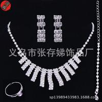 Wholesale Cheap Bracelet Necklaces Sets - 2016 Cheap Sliver Rhinestone Bridal Jewelry Set Bling Beaded Wedding Party Earring Bracelet Necklace Jewel Set Birdal Accessories