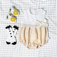 Wholesale Girl Hat Bowknot - INS 2017 European and American Style new arrival baby girl lace hollow out Cotton Exquisite bowknot baby romper high quality cotton+cute hat