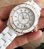 Wholesale Women Diamond Ceramic Watches - Luxury Men 38mm Women 33mm Japan Quartz Classic Round Black White Ceramic Diamonds watch