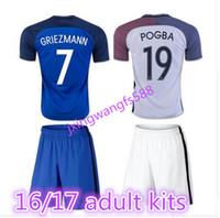 Wholesale France Football Kits - top thai quality 2016 Euro France Home blue soccer Jersey Kits 2016 2017 GRIEZMANN POGBA MARTIAL Giroud Away white Football shirts