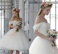 Wholesale Tea Length Off White Skirt - Hot Selling A Line Tulle Wedding Dresses 2017 Cheap Off The Shoulder Tea Length Wedding Dresses Bridal Gowns