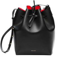 Wholesale Drawstring Bucket Bag Handbag - Wholesale-mansur women's cowhide handbag bucket bag genuine leather gavriel one shoulder cross-body handbag drawstring bag