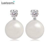 Wholesale Small Pearl Gold Earrings - Simple and Elegant Stud Earrings with Single Small Cubic Zirconia and Imitation Pearl Earrings White-Gold Color LUOTEEMI