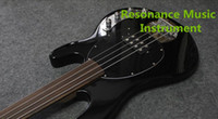 Wholesale Black Box Guitar - Music Man 4 Strings Bass Erine Ball StringRay Black Electric Bass Guitar Active Pickups 9V Battery Box Fretless Fingerboard Black Pickguard