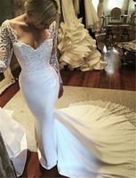 Wholesale Mermaid Weddingdress - Vintage Long Sleeve Lace Mermaid Wedding Dresses White Chiffon Sequin Wedding Gowns Weding Bridal Bride Dresses Weddingdress