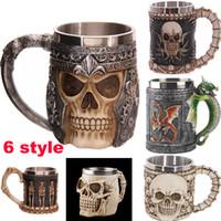 Wholesale Tankard Mug Wholesale - 3D Double Skull Mugs Wall Stainless Steel Cups 300-400ml Coffee Beer Tea Cup Knight Tankard Dragon Drinking Mugs WX-C11