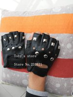 Wholesale bamboo tactical resale online - New arrival men s fashion half finger rivet gloves male hip hop punk fingerless tactical gloves sports tactical gloves