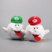"Wholesale Luigi Plush Hat - 2pcs Lot 8"" 20CM Game Super Mario Bros Boo Ghost Red  Green Mario Luigi Hat Plush Toys Stuffed Dolls Gift for Children"