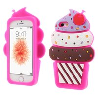 Wholesale Ice Cream Case For Iphone - 3D Cute Cherry ice cream Soft Silicone Phone Cover Back Case For Iphone 5s 6 6s plus 7 7plus Samsung S6 S6 edge S7 S7 Edge