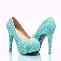 Wholesale Evening Fully Beaded - 5 8 11 14CM Cinderella Shoes Turquoise Fully Beaded Bridal Bridesmaid Wedding Shoes Hand-made Prom Evening Party High Heels 125