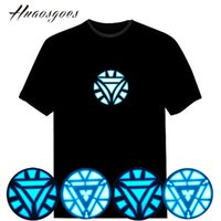 Großhandel-Verkauf Sound Aktiviert LED Iron Man T-Shirt Light Updown Flash Equalizer Musik aktiviert ELT-Shirt für Rock Disco Party DJ