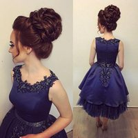 Wholesale Elegant Tulle Round Neck - Hot Selling 2018 Sequins Prom Ball Gown Beads Appliques Elegant Round Neck Tea Length Party Evening Dresses Custom Quality Dark Blue