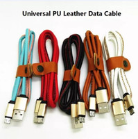 Wholesale Chinese Wholesale Luxury - PU leather metal head fast charge cable 1M 3ft Micro USB for samsung S7 LG mobile luxury cable