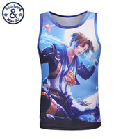 Wholesale Running Man Costume - Fashion 3d print King Glory chinese style ancient costume printed tank tops wholesale running gym singlet no sleeve t-shirt