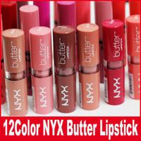 Wholesale lipstick waterproof nyx for sale - Group buy NYX Butter Lipstick Colors Batom Mate Waterproof Long lasting Lipstick nyx Tint Lip Gloss Stick Brand Makeup Maquillage