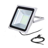 Wholesale Led Ip67 Plug - Wholesale-Outdoor LED Flood Lights 10W 30w 50W IP67 Waterproof 220V 240V SMD5730 Floodlights Lighting With EU Plug 2016 Newest