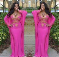 арабская сексуальная одежда оптовых-Ярко-розовый арабский Дубай Марокканский кафтан турецкий Пром платья с длинными рукавами глубокая вышивка вечерние платья золотые бусины Пром партия одежда
