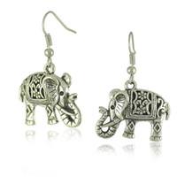 Wholesale silver plated filigree - Fashion Women's Ear Stud Hot Unique Tibetan Silver Filigree Carved Elephant Drop Dangle Earrings Jewelry Earing Earring Ear Ring Access