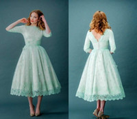 best open back satin wedding dress - Short Mint Green Bridesmaid Dresses 2017 Jewel Neck Open Back 3 4 Long Sleeves Lace Knee Length Wedding Party Dresses Gown Custom Made